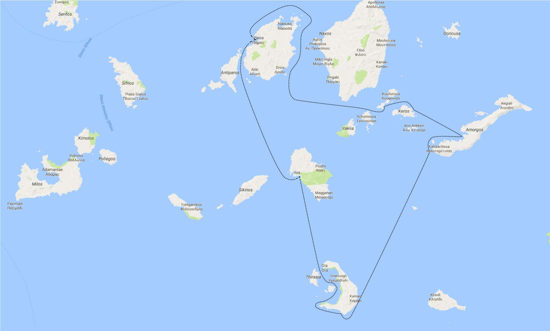 Harta traseu Santorini